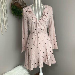 NWT Selfie Leslie pink ruffled wrap dress Small